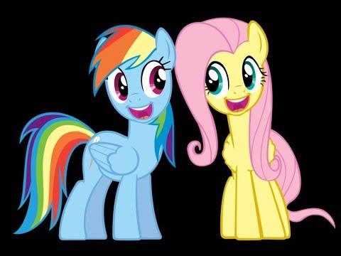 Мой маленький пони Встреча Флаттершай, Рейнбоу Дэш и Пинки Пай в нарисованном лесу стопмоушн