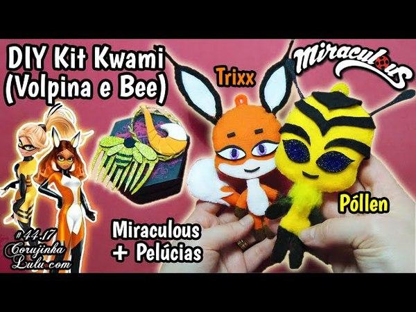 DIY MIRACULOUS 🐞 🐝 BEE e VOLPINA 🦊 Como Fazer Colar Pente Broche Pelúcias POLLEN e TRIXX