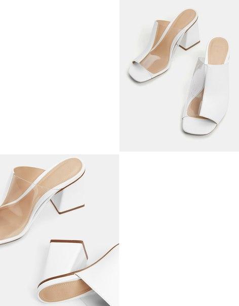Туфли на каблуке, с виниловой деталью
