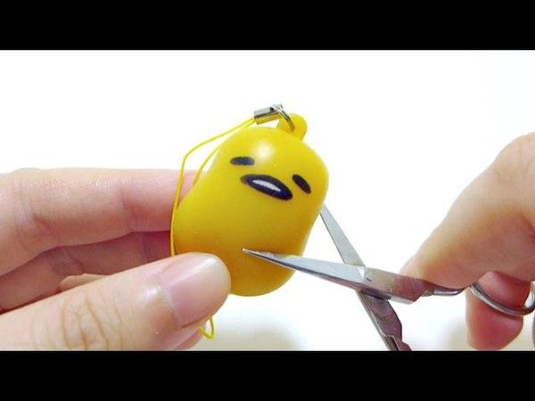 Cutting Open Gudetama Lazy Egg Squeeze Toy
