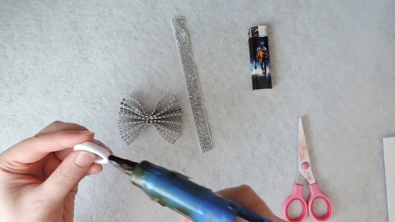 БАНТ ИЗ СТРАЗОВОЙ ЛЕНТЫ, как сделать бантики, оригинальный подход