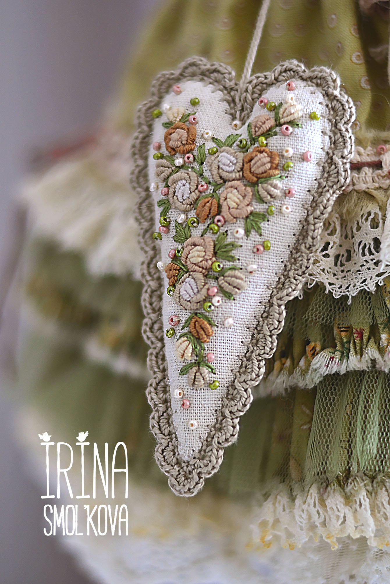 сердечко текстильное вышивка