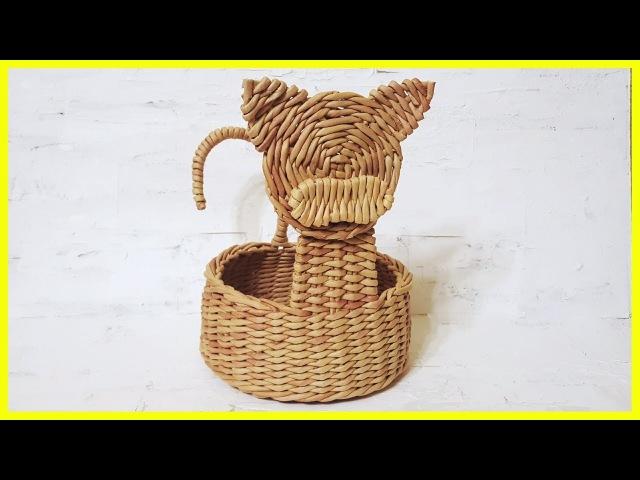 Плетем корзину-котика из бумажных трубочек! Запись трансляции! 01.03.18