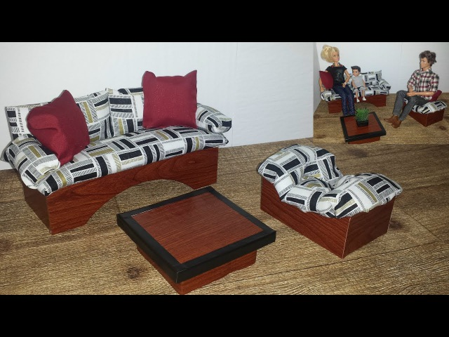 How to make a Doll Living Room Set with Table