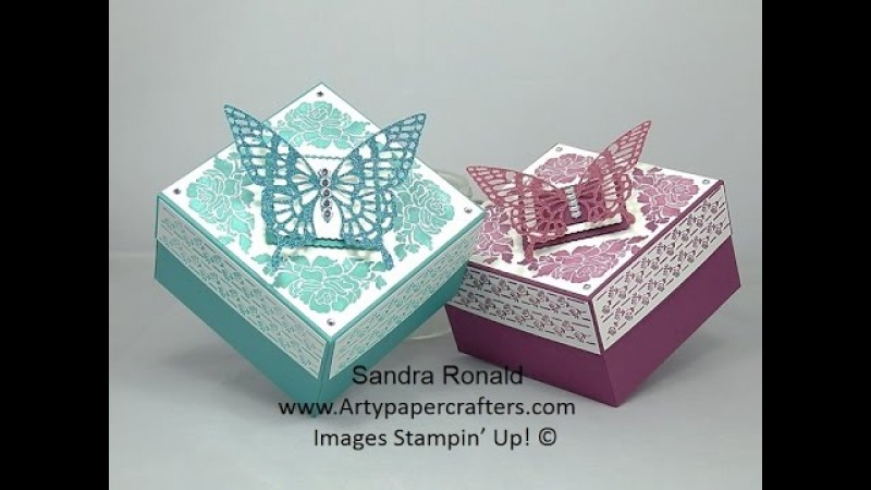 GORGEOUS BUTTERFLY Gift Box using Floral Phrases - SandraR Stampin' Up! Demonstrator Independent