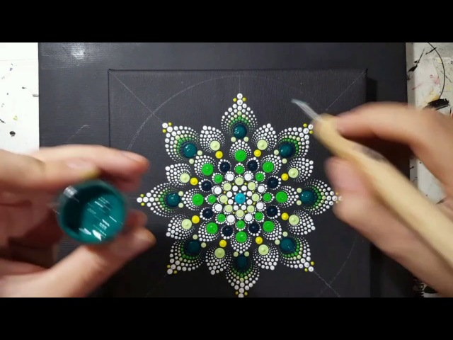 How to paint mandala for BEGINNERS!!8 Green and Yellow Flower Tutorial!(medium hard)