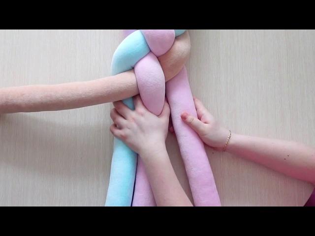 Бортик коса из 4 полос. Процесс создания косички бортика для детской кроватки