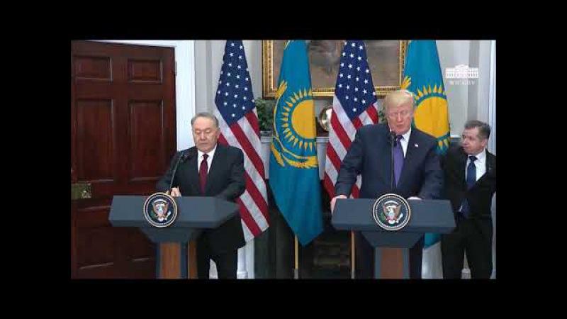 Назарбаев пен Трамп.Трамптың сөзі.Қазақ тілінде(ілеспе аударма)