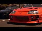Брайан (Пол Уокер) и Доминик (Вин Дизель) испытывают Toyota Supra. Форсаж. 2001.