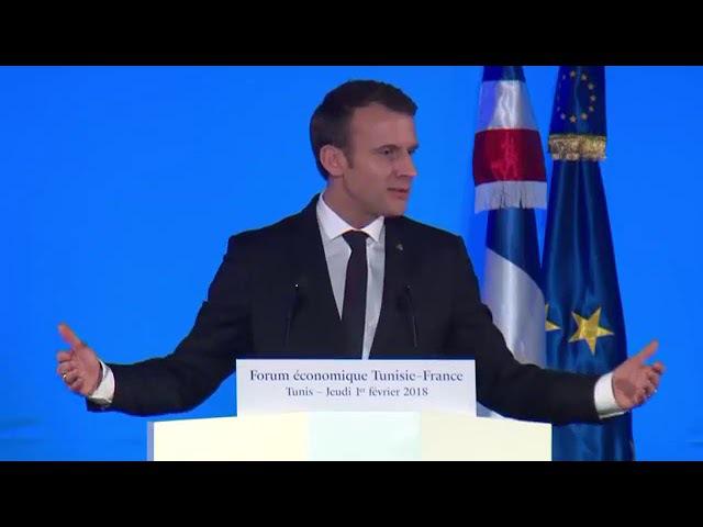 Président de la République Emmanuel Macron, à loccasion de la clôture du économique franco-tunisien 1.02.2018