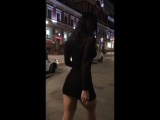 Gayana Bagdasaryan walking in the center of Moscow