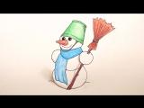 Как Нарисовать Снеговика поэтапно на Новый год - новогодние рисунки для детей