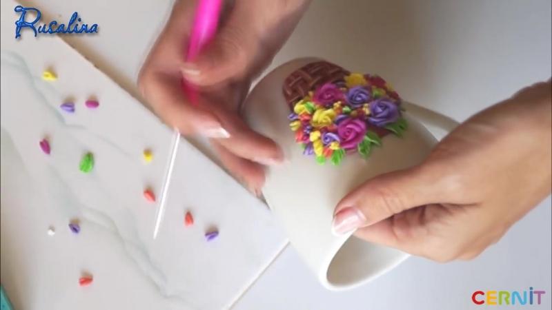 Декор кружки своими руками ❤ Мастер класс ❤ Полимерная глина ❤ Cernit ❤