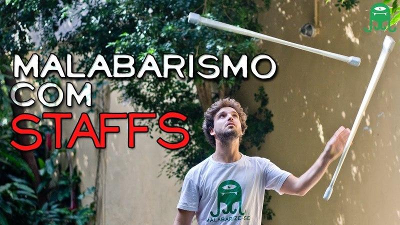 COMO FAZER MALABARISMO COM BASTÕES - Tutorial Staff (Com Lucas Devillers) - HOW TO JUGGLE 3 STAFFS