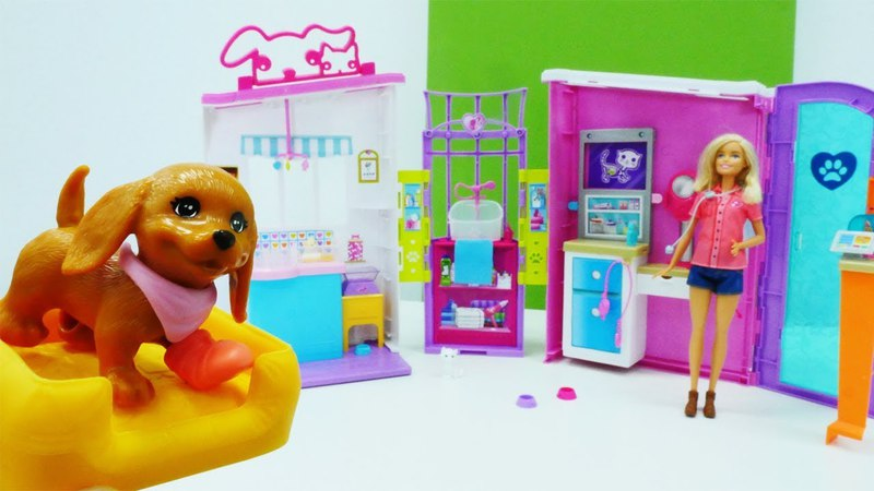 Распаковка - Кабинет ветеринара Барби. Видео для девочек