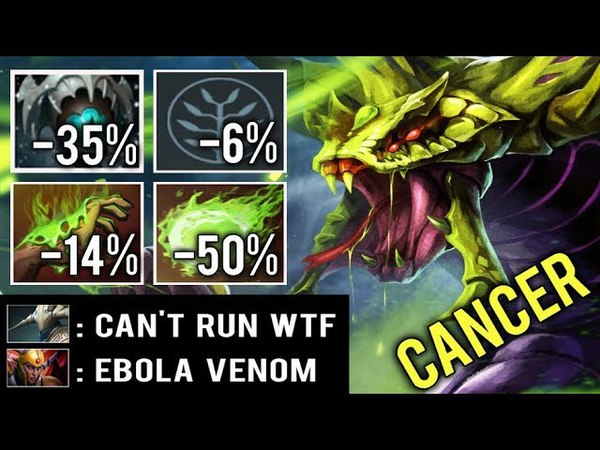 WTF CAN'T RUN 100% SLOW Cancer Build Skadi Venomancer Mid Toying Sven by Draskyl Ebola 7.13 Dota 2