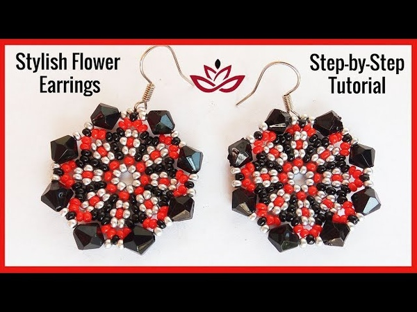 Stylish Flower Earrings with seed beads and bicones Tutorial