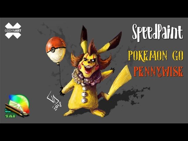 SpeedPaint - Paint tool SAI - Рисуем Покемона Гоу Пеннивайз / Pokemon go Pennywise