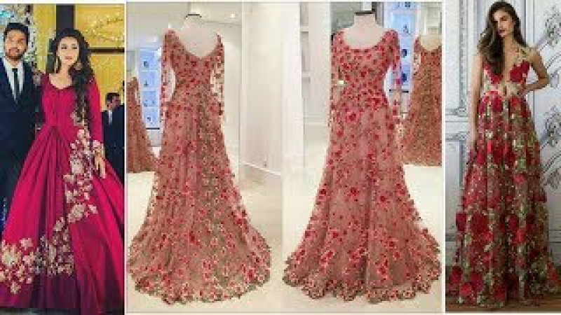 New || Latest Stylish Designer Red Floral Lehnga Choli Dresses Design For Girls 2017