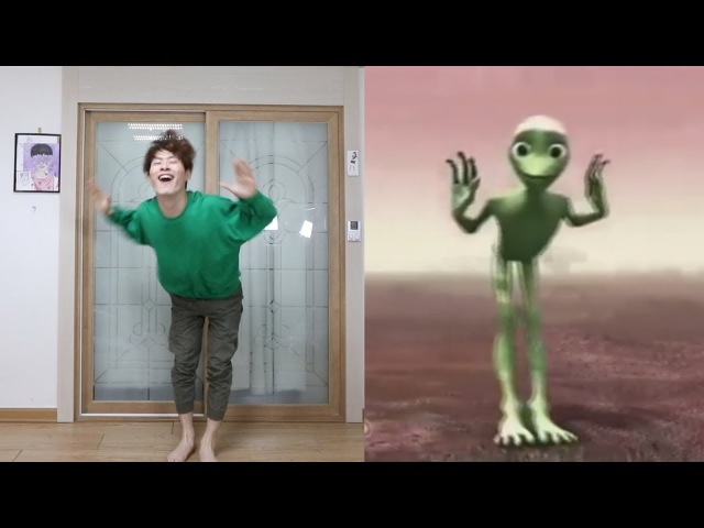 Green Alien vs GoToe AlienDancing Dame tu cosita dance [GoToe PARODY]