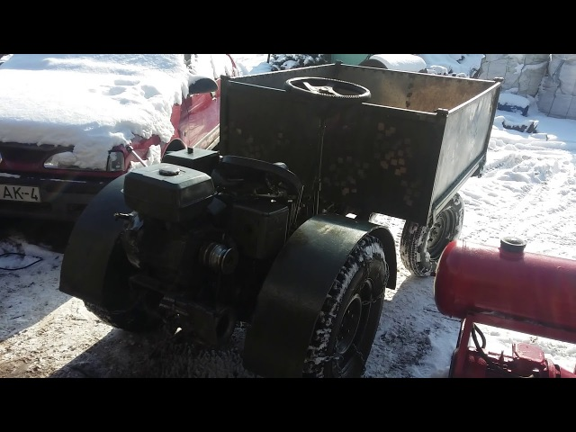 Самодельный трактор с самосвальным кузовом..мерзавчик..отДигриз запуск гидравлики.