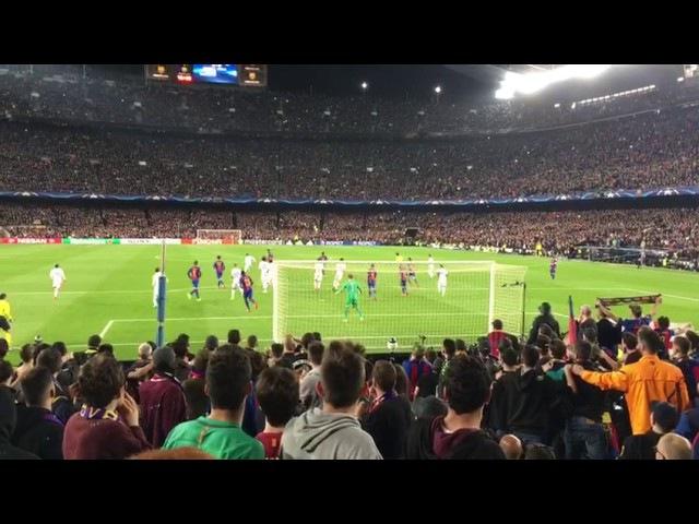 BARÇA - PSG goal de Sergi Roberto desde la grada.