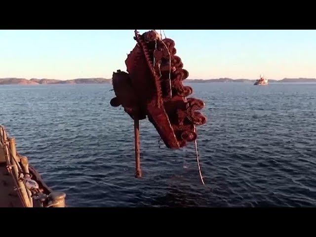 Кадры поднятия американского танка «Шерман» со дна Баренцева моря