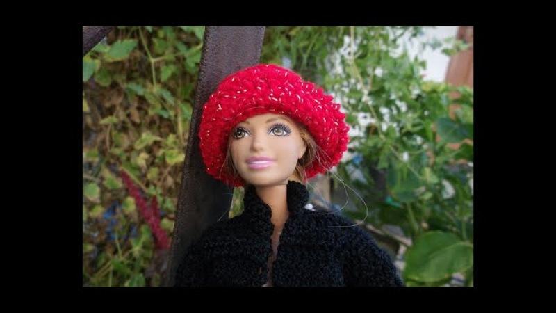 Как связать шапочку, шляпку и короткие сапожки для Барби. Wie Kappe Barbie binden.