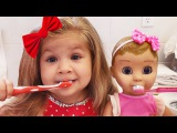 Morning Routine Diana and Baby Doll, Eating and Playing / Songs for kids
