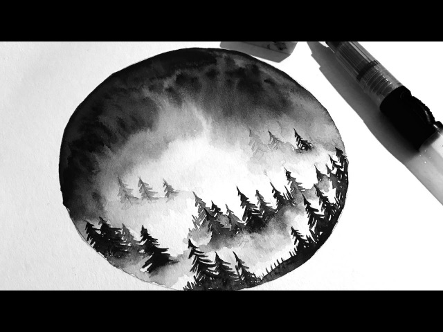 Simple Watercolour Misty Forest Painting Tutorial