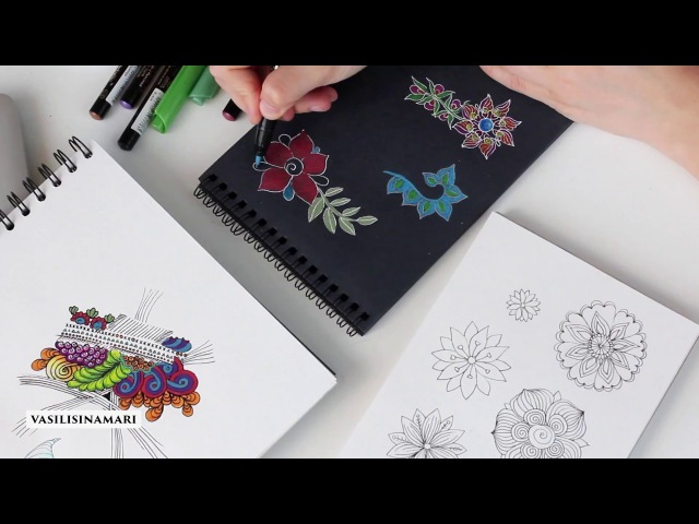 Онлайн видео курс Zendoodle цветы VASILISINAMARI