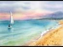 Видео урок рисования акварелью Морской пейзаж. Закатное небо . (Превью к уроку)