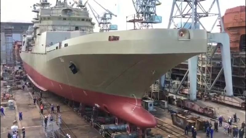 В Калининграде спущен на воду большой десантный корабль Пётр Моргунов