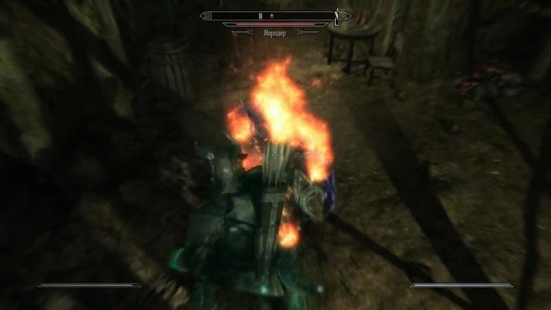 Скайрим 5 Бой без оружия потом две зачарованные заточки урон 17 Ур Легенда