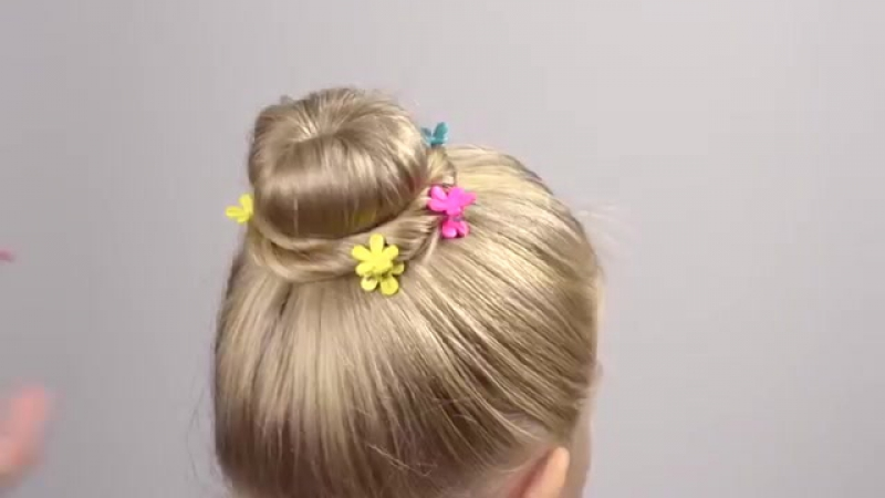 3 mins. Bun hairstyle for little girl, no hairpins. Quick and easy hairstyle for
