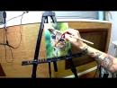 Ускоренное видео от начала до конца, как я рисовал маслом кошку  AndrievskyTattoo