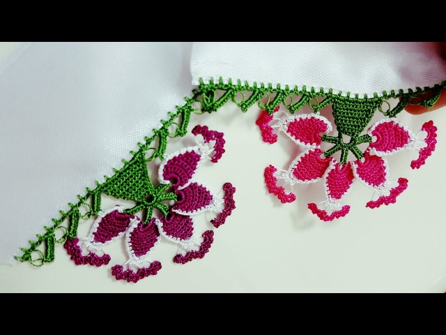 Çiçekli Badem Havlu veya Yazma Kenarı Yapımı