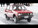 Tiny Yugo goes 100mph ON ICE SKETCHY