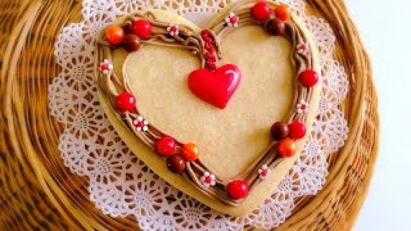 How to make twig wreath heart cookie.