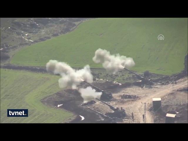 Afrindeki terör mevzileri çoklu roketatar ve obüslerle vuruluyor