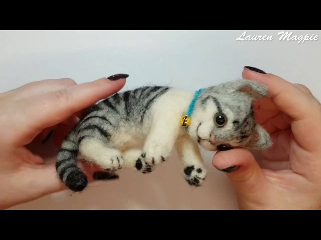 Watch Me Felt Hamanaka Needle Felting Kit Grey Tabby H441 365