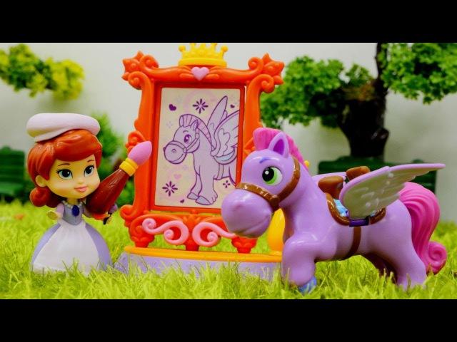 Prenses Sofia Oyunu! At Minimus çizimi! Boyama oyunu oyna. Evcilik kız oyunu. Disney çizgi