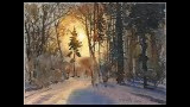 Акварельный пейзаж зимнего леса с утрированным солнечным контражуром.