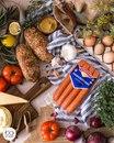 Хот-доги с луковыми кольцами и сыром