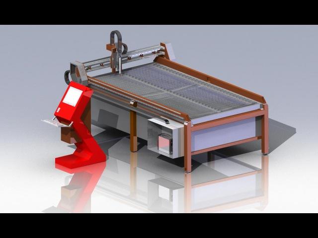 3D модель установки плазменной резки Процесс резки листа plasma