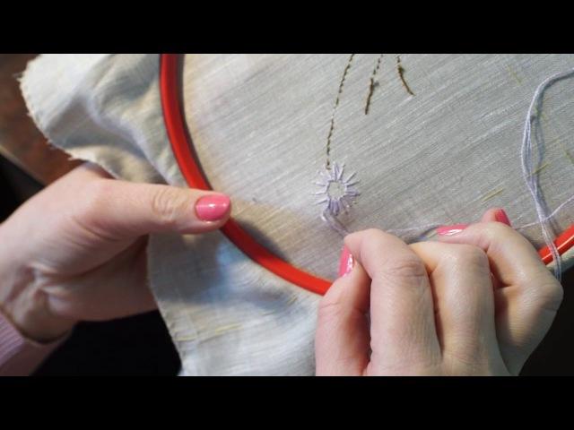 Уроки вышивания Создаем нитками цветок на ткани
