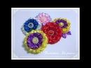 МК Пышные яркие цветочки 11 см из атласной ленты🏵️ Bright lush flowers Flores lindas e brilhantes