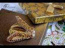 Вышивка бисером и пайетками Брошь Золотая цикада Beaded Brooch cicada embroidery