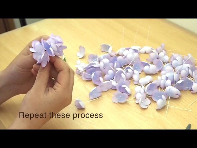 How to make the fabric flowers HYDRANGEA
