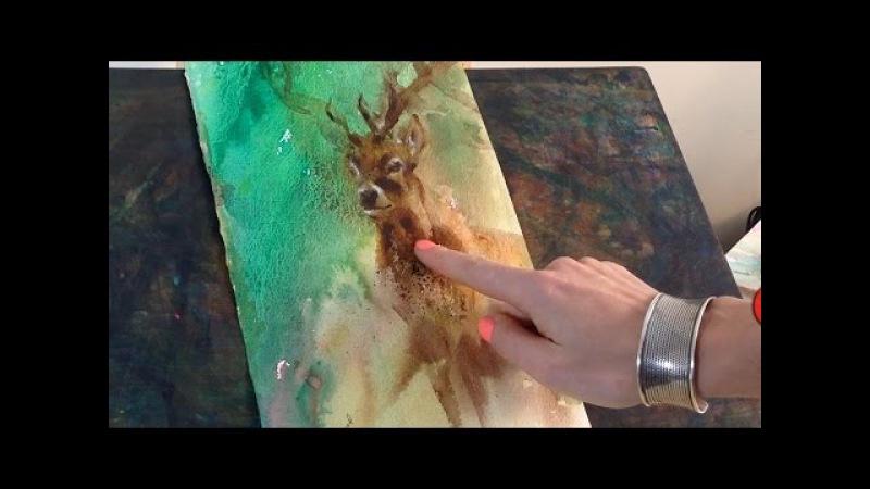 Watercolor practice exercises Roses and Irish Deer